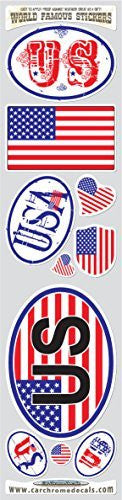 Car Chrome Decals STS-USA USA 10 stickers set US American flag decals bumper stiker car auto bike laptop