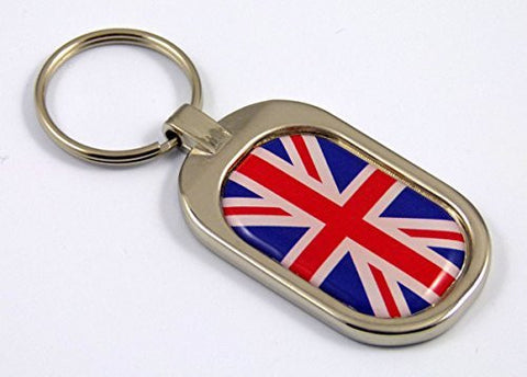 Great Britain Flag Key Chain metal chrome plated keychain key fob keyfob England