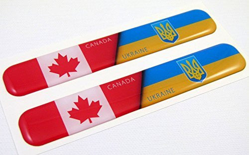 "Canada Ukraine Flag Domed Decal Emblem Resin car auto stickers 5""x 0.82"" 2pc."