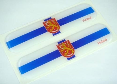 "Finland, Finnish Flag Domed Decal Emblem Car Flexible Sticker 5"" Set of 2 Suomi"