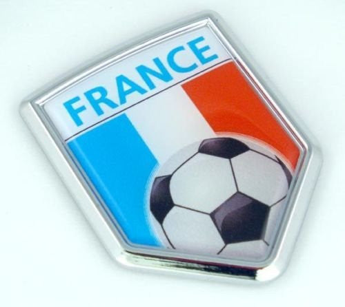France Français French Flag Car Chrome Emblem Sticker with Soccer ball