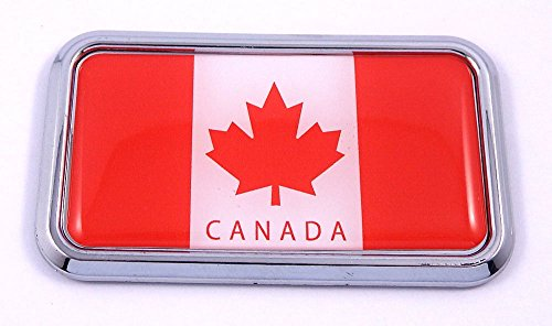 "Canada Canadian Flag rectanguglar Chrome Emblem 3D Car Decal Sticker 3"" x 1.75"""