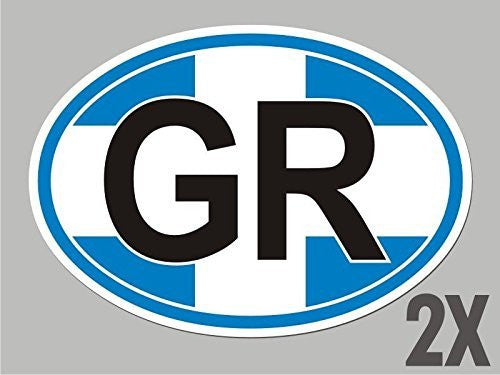 2 Greece Greek GR OVAL stickers flag decal bumper car bike emblem vinyl CL023