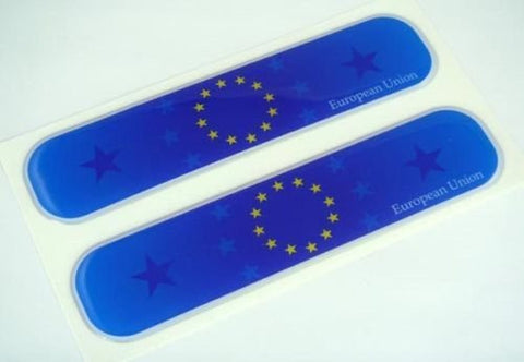 "European Union Flag Domed Decal Emblem Car Flexible Sticker 5"" Set of 2 Europe"