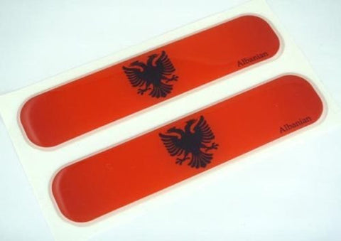 "Albania, Albanian Flag Domed Decal Emblem Car Flexible Sticker 5"" Set of 2"