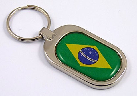 Brazil Flag Key Chain metal chrome plated keychain key fob keyfob Brazilian