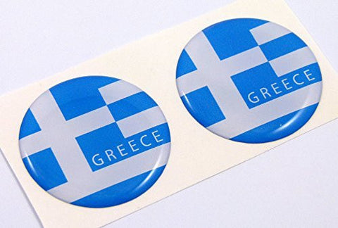 "Greece Greek flag Round domed decal 2 emblem Car bike stickers 1.45"" PAIR"