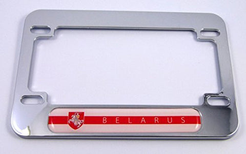 Belarus flag Motorcycle Bike ABS Chrome Plated License Plate Frame belorussia