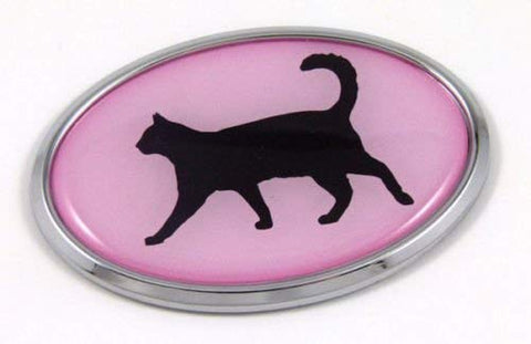 Cat Pink 3D Chrome Emblem Pet Decal Car Auto Bike Truck Sticker