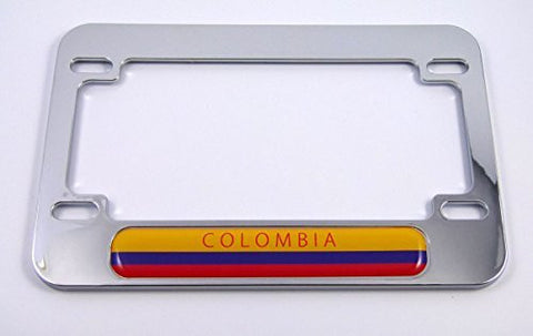 Colombia flag Motorcycle Bike ABS Chrome Plated License Plate Frame