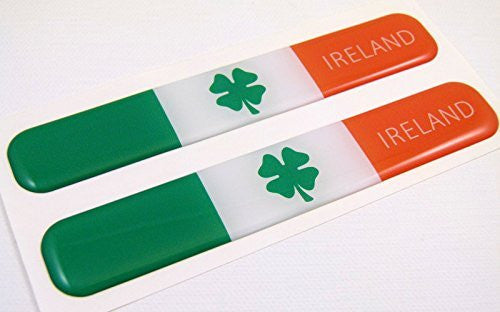 "Ireland Irish Flag Domed Decal Emblem Resin car stickers 5""x 0.82"" 2pc."