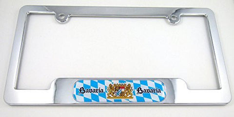 Bavaria German Chrome plated ABS License Plate Frame Dome Emblem BayernFree caps