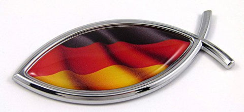 Germany Jesus Fish German Flag Car Bike Chrome Emblem Decal Sticker Christian