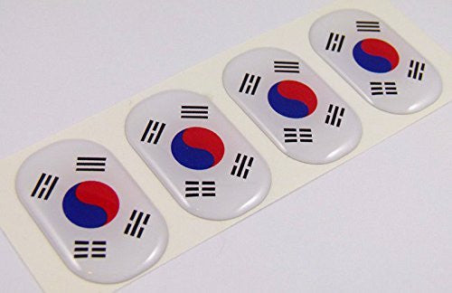 "Korea South midi domed decals flag 4 emblems 1.5"" Car bike laptop stickers"