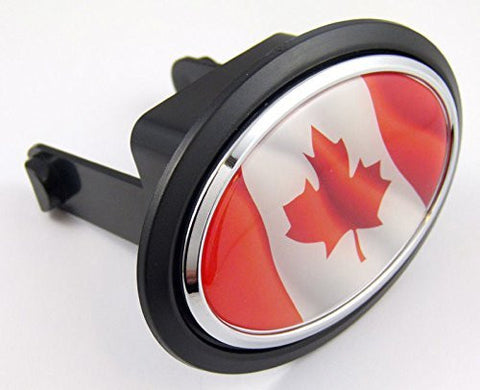 "Canada Canadian Flag Hitch Cover cap 2"" receiver black with chrome & dome"