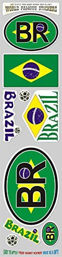 Car Chrome Decals STS-BR Brazil 9 stickers set Brazilian flag decal bumper stiker car auto bike laptop