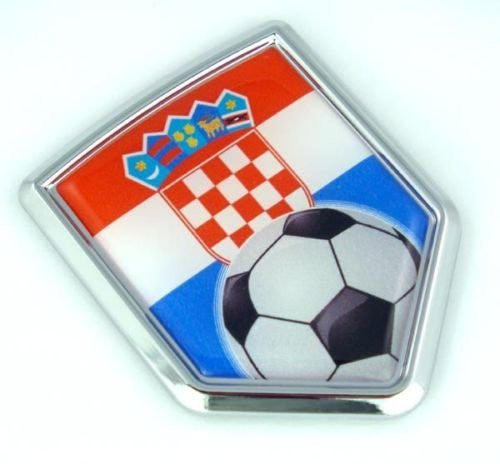 Croatia, Croatian Flag Car Chrome Emblem Sticker with Soccer ball