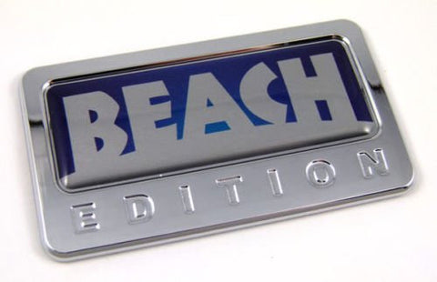 Car Chrome Decals CBEDI-BEACH Beach custom Edition Chrome Emblem with domed decal c/w adhesive Car Auto Badge