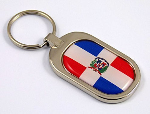 Domonican Republic Flag Key Chain metal chrome plated keychain key fob keyfob
