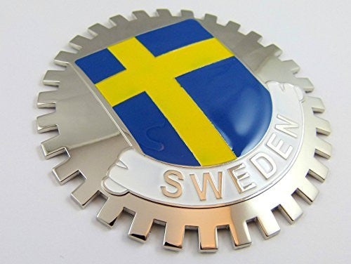 Grille Badge Sweden for car truck grill mount Swedish flag emblem chrome