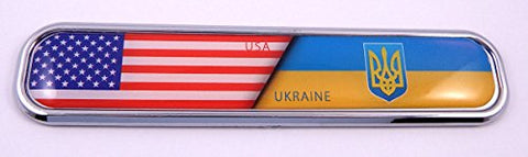 USA/Ukraine Flag Chrome Emblem 3D auto Decal Sticker car Bike Boat 5.3""
