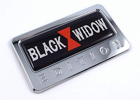 Black Widow Edition Chrome Emblem with domed decal Car Bike Badge Motorcycle