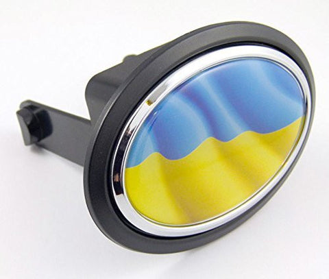 "Ukraine Ukrainian Flag Hitch Cover cap 2"" receiver black with chrome & dome"