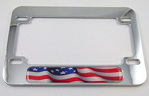 USA American Flag Motorcycle Bike ABS Chrome Plated License Plate Frame