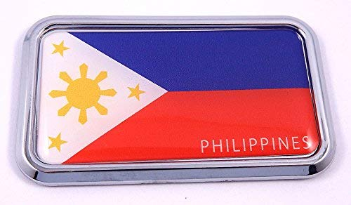 "Philippine Philippine rectanguglar Chrome Emblem Car Decal Sticker 3"" x 1.75"""