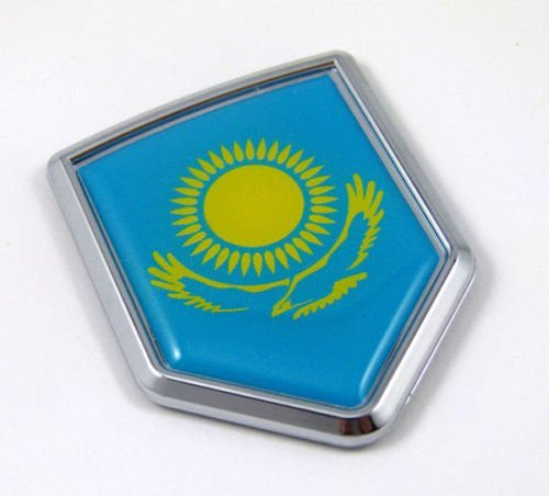 Kazakhstan Flag Kazakh Auto Chrome Emblem Chrome Car Decal Sticker 3D Medalion