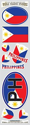 Car Chrome Decals STS-PH Philippines 9 stickers set Philippinian flag decals bumper car auto bike laptop