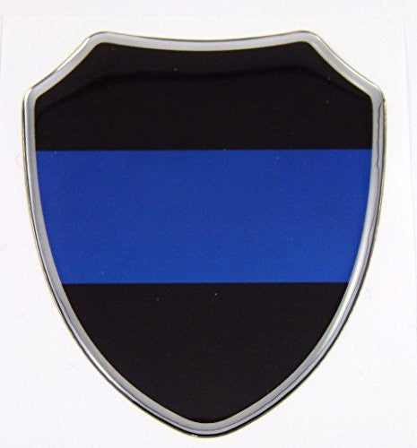 "Thin Blue line police Domed decal Shield Emblem domed decal Bike Car sticker 2.75"" x 3.25"""