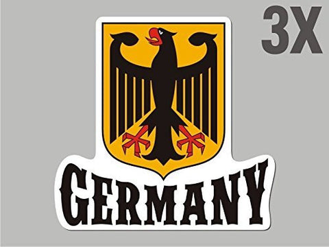 3 Germany Deutschland shaped stickers flag crest decal car bike emblem CN054