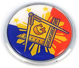 "Mason Philippines Flag 2.75"" Car Chrome Round Emblem Decal 3D sticker badge Masonic Philippine"