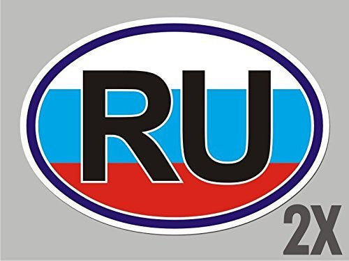2 Russia Russian OVAL stickers flag decal bumper car bike emblem CL051