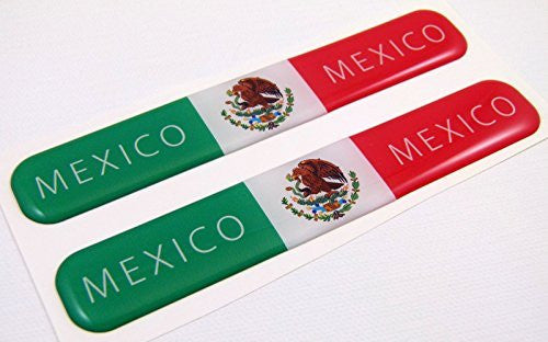 "Mexico mexican Flag Domed Decal Emblem Resin car stickers 5""x 0.82"" 2pc."