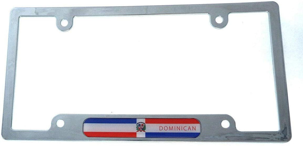 Dominican Republic Flag car License Plate Frame Plastic Chrome Plated CP08