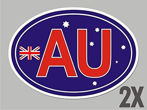 2 Australia AU OVAL stickers flag decal bumper car bike laptop window door CL004
