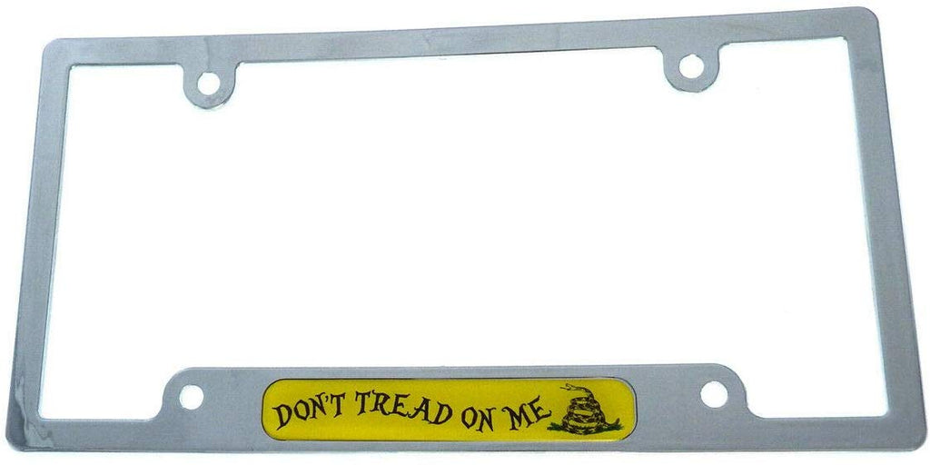 Don't Tread On Me USA Flag car License Plate Frame Plastic Chrome Plated CP08