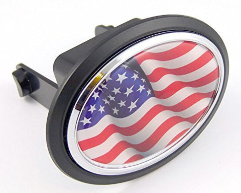"USA American states Flag Hitch Cover cap 2"" receiver black with chrome & dome"