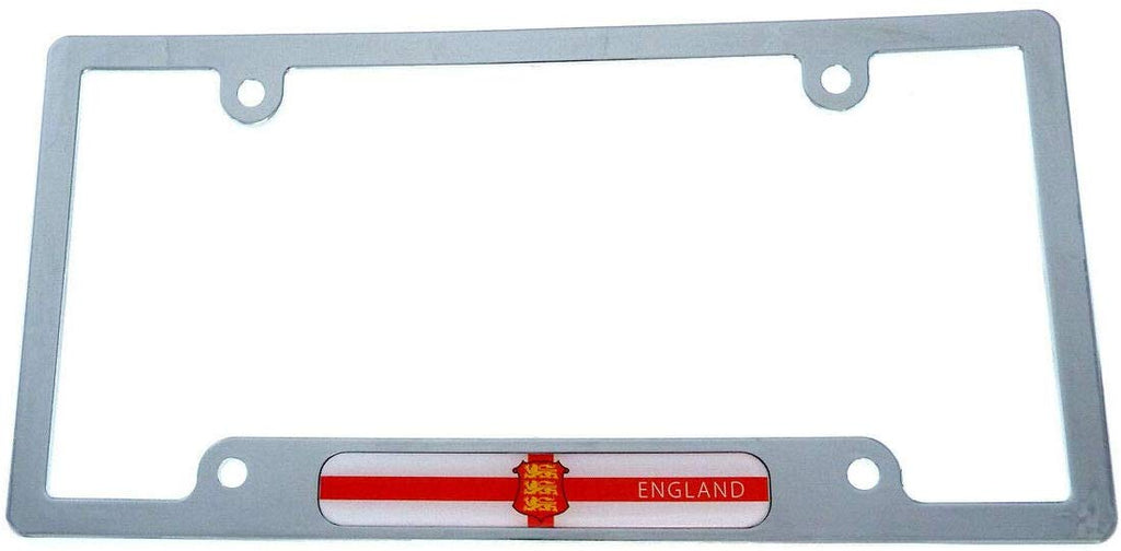 England Flag car License Plate Frame Chrome Plated Plastic tag Holder Cover CP08