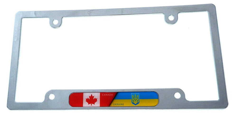 Canada Ukraine Flag License Plate Frame Plastic Chrome Plated tag Holder CP08