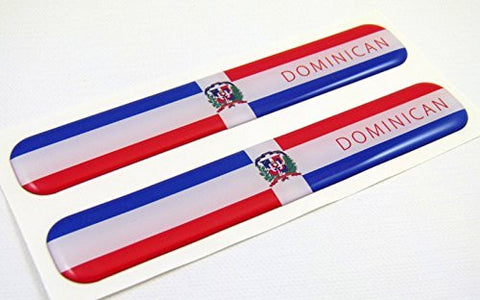 "Dominican Republic Flag Domed Decal Emblem Resin car stickers 5""x 0.82"" 2pc."