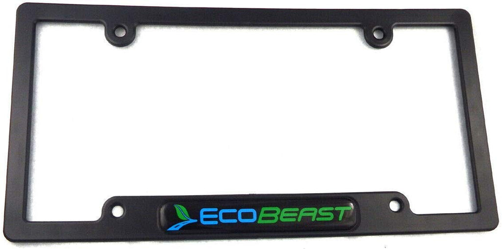 EcoBeast Black Black Plastic Car License Plate Frame Holder