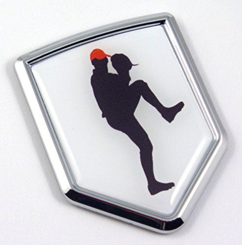 Baseball Pitcher Chrome Emblem 3D Decal Sticker Car sport emblem