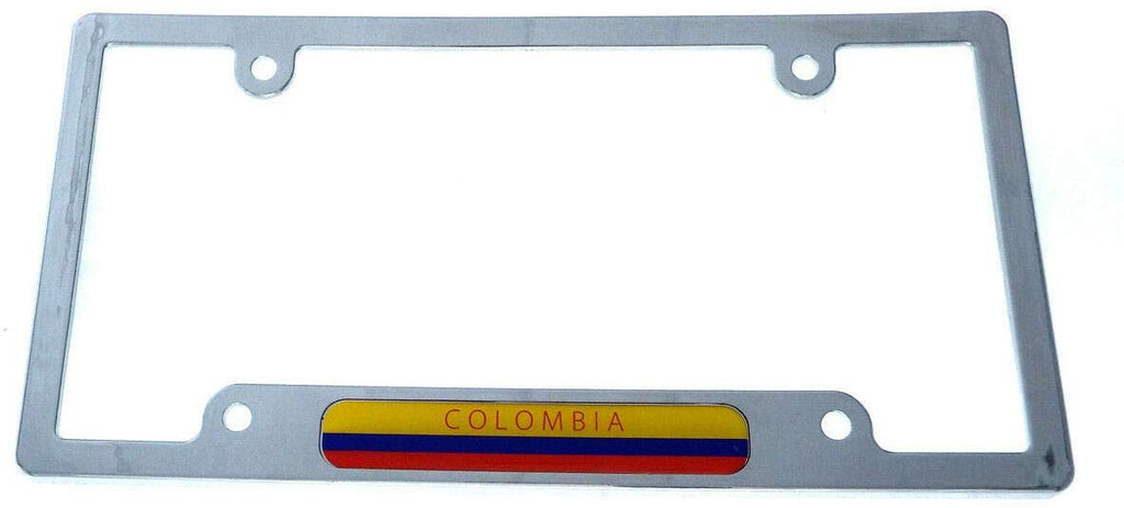 Colombia Flag car License Plate Frame Plastic Chrome Plated tag Holder CP08