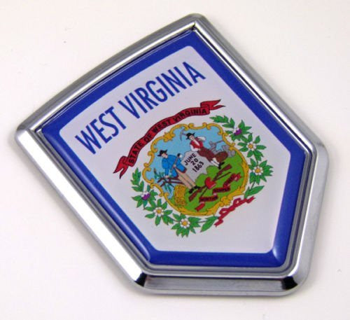 West Virginia USA State Flag Car Chrome Emblem Decal Sticker bike laptop boat 3dd Sticker badge