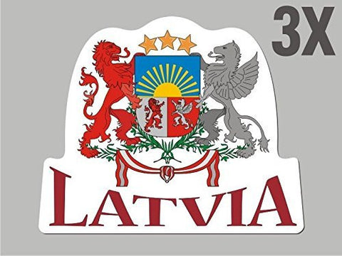 3 Latvia shaped stickers flag crest decal car bike emblem CN046
