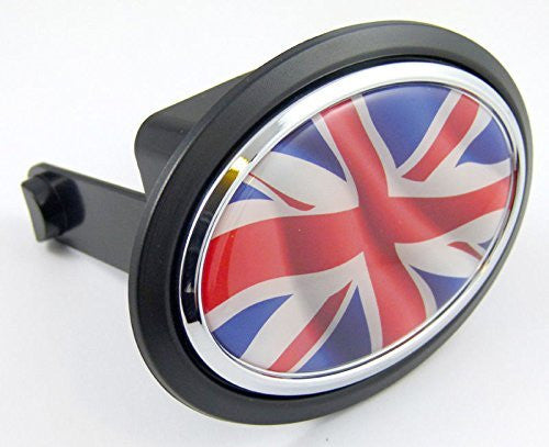 "Great Britain Union Jack Flag Hitch Cover 2"" receiver black with chrome & dome"