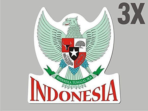 3 Indonesia shaped stickers flag crest decal bumper car bike emblem vinyl CN017